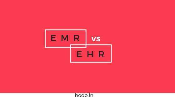 EMR vs EHR - Red background